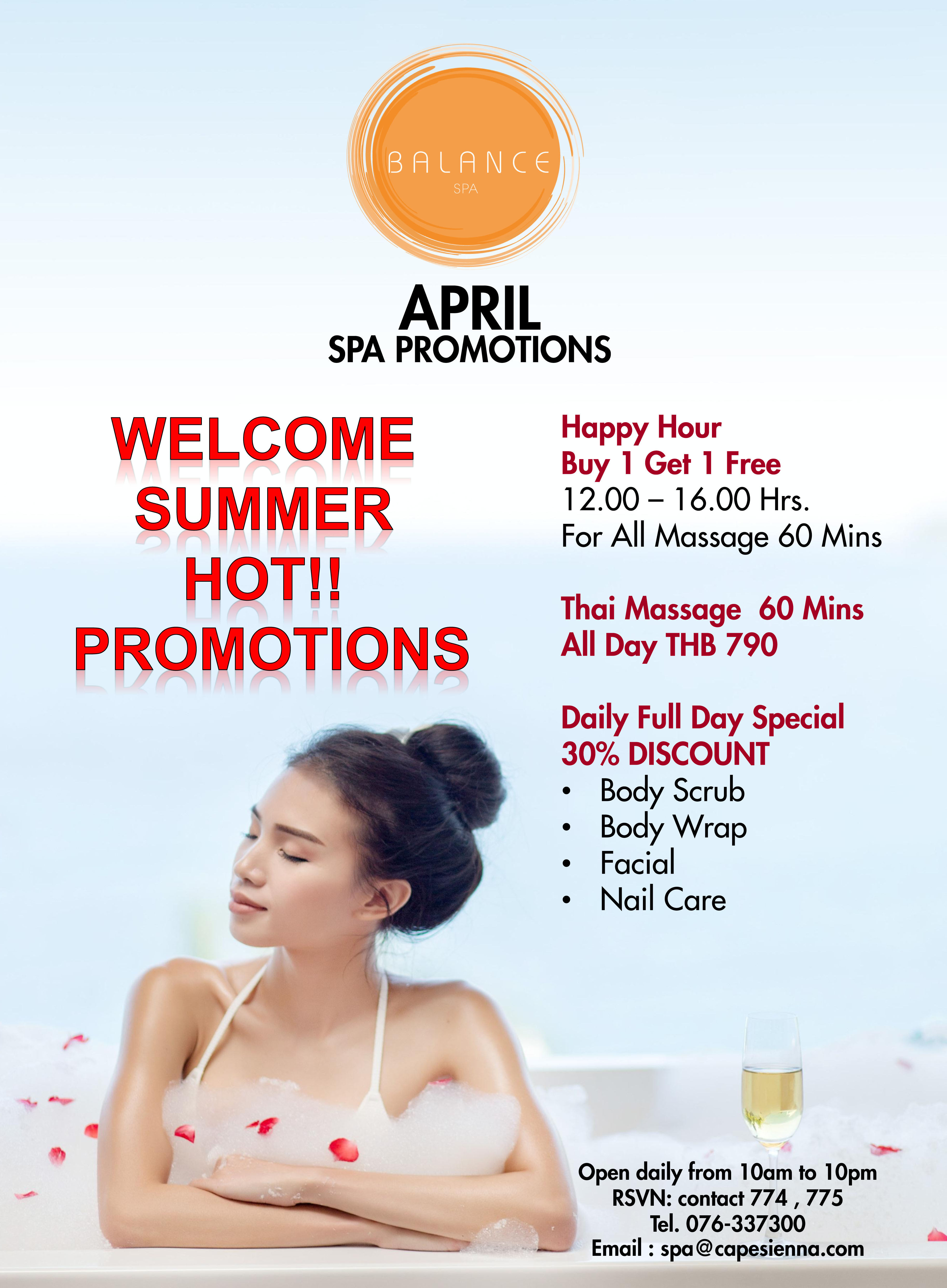 Spa monthly promotions